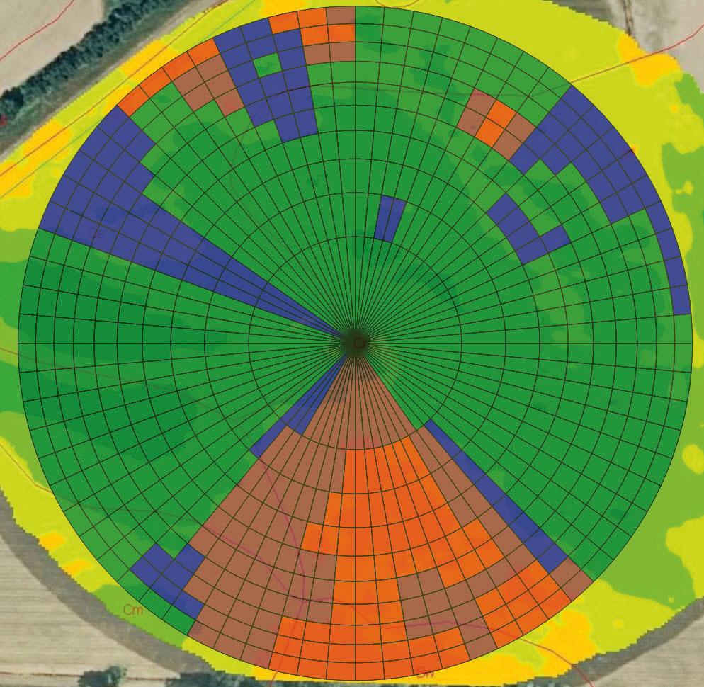 La mappa di prescrizione irrigua dove i diversi colori indicano le differenti quantità o intensità di acqua erogata dall'impianto nell'appezzamento servito dal pivot.