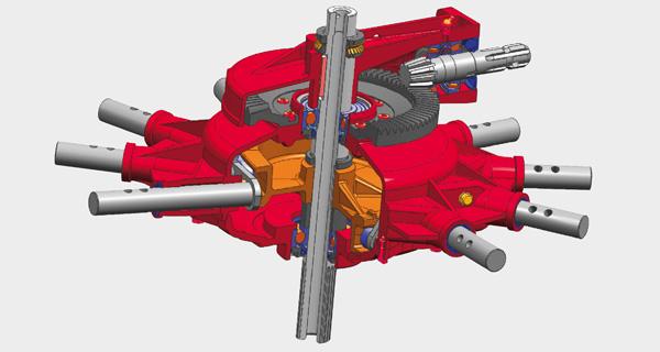 La scatola di trasmissione Compact Line, con lubrificazione permanente dei dischi curvi e controllo del braccio portadenti inclusi.