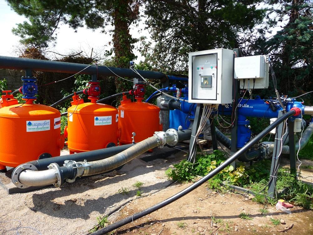 Un sistema più complesso di filtrazione per poter immettere nell'ala gocciolante interrata anche il digestato opportunamente pre-trattato, proveniente dall'impianto di biogas.