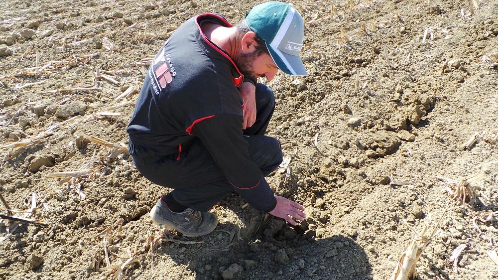 Emanuele Furlani controlla il lavoro effettuato dal Kverneland Kultistrip.
