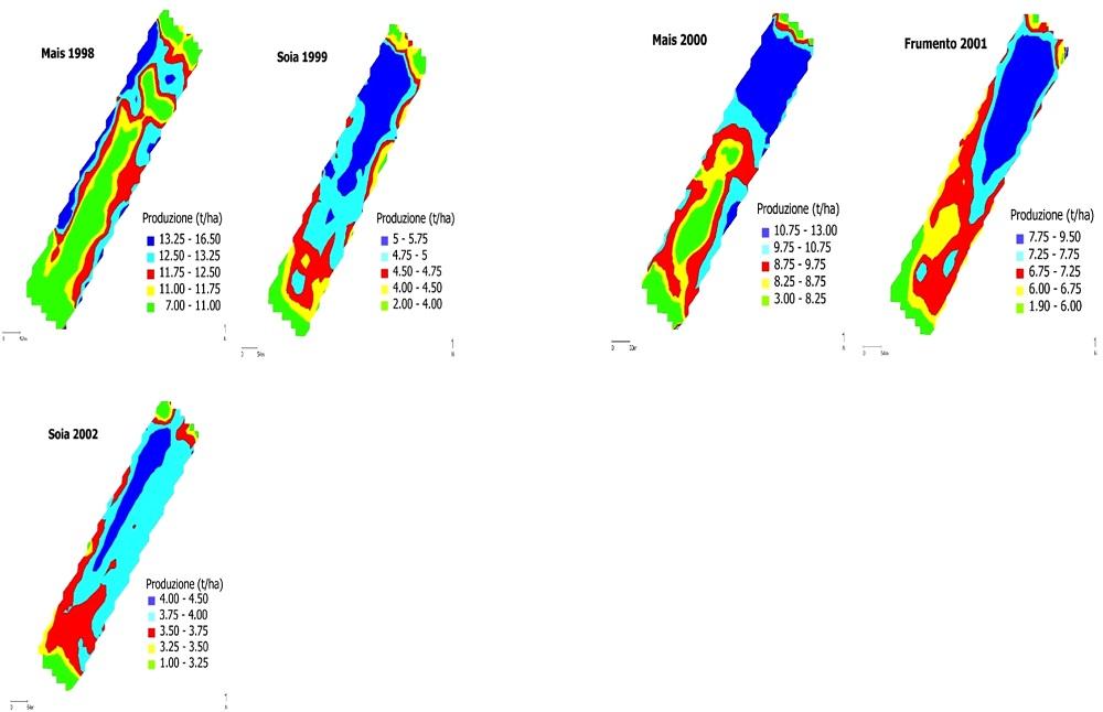 I diversi colori delle mappe indicano come varia la produzione nei diversi punti del campo.