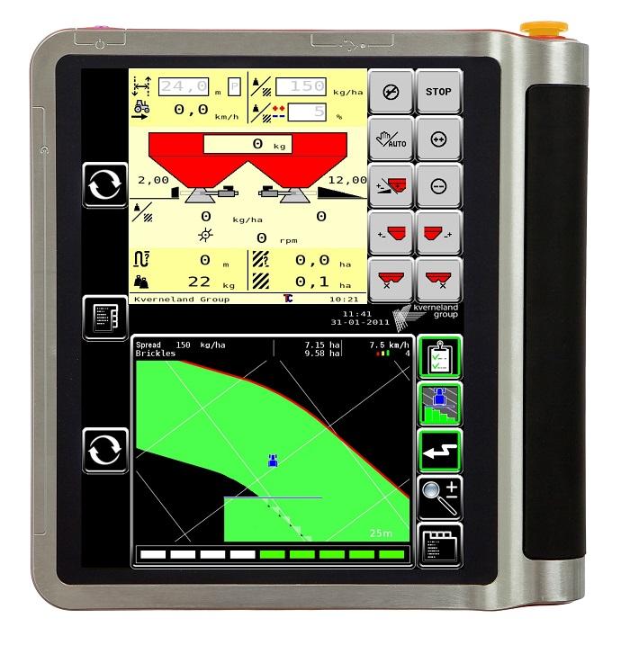 Isomatch Tellus, il computer touch screen di Kverneland da montare in cabina,  che presiede ed elabora tutte le informazioni da trasmettere allo spandiconcime.