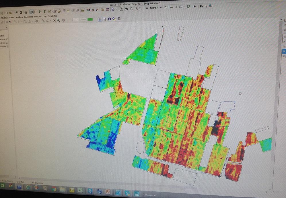 Mappa del suolo ottenuta con il sistema ARP. I diversi colori indicano le zone con sabbia, limo e argilla.