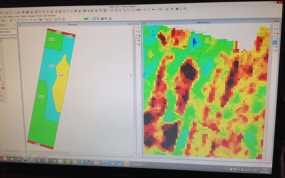 A sinistra la mappa di prescrizione per semina a dose variabile del mais, a destra la mappa del suolo con la differenziazione delle aree a diversa tessitura.