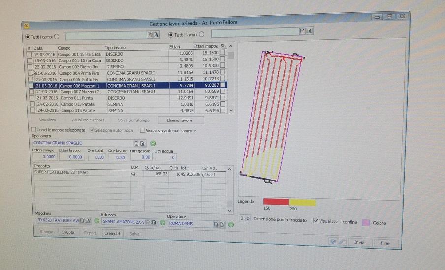 Il sistema gestionale dei lavori aziendali in questa videata mostra che il 21 marzo è stata eseguita una concimazione a dose variabile (vedere i due colori giallo e rosso) su 9,778 ettari.
