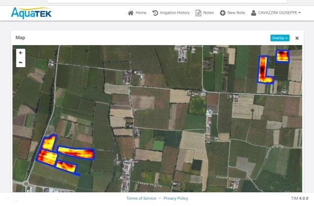 Questa immagine da satellite individua i campi dell'azienda dove il sistema Aquatek è attivo.